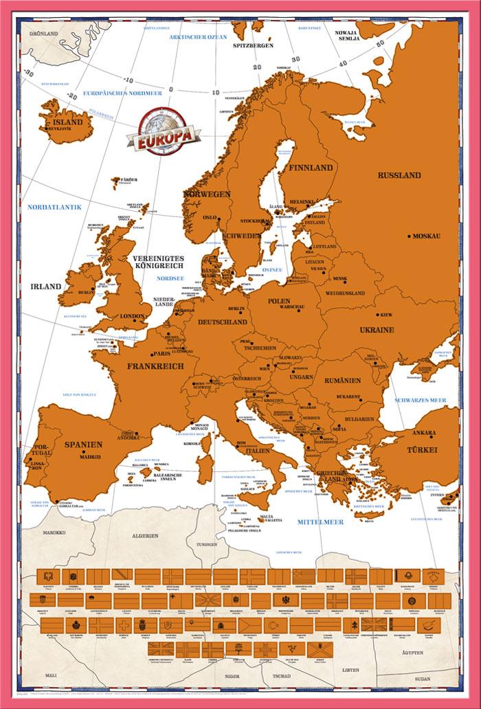 Rubbelkarte Landkarten Politische Europakarte Grösse 91,5x61 Neue Edition 2017