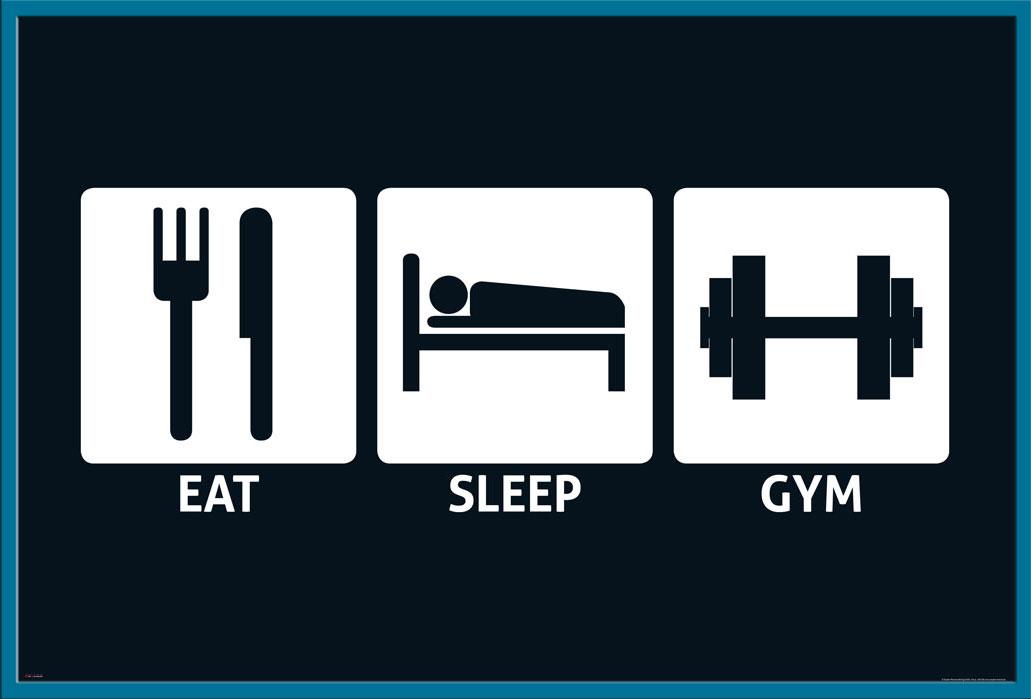 Fun Poster Plakat Druck Größe 91,5x61 cm Gym Sleep Eat