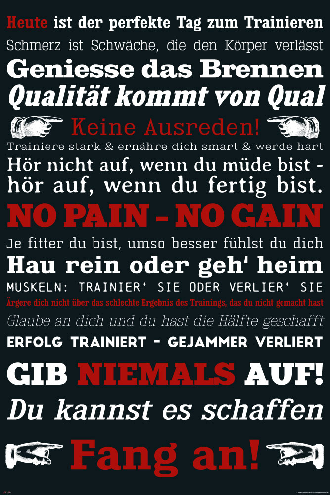 Motivational - Poster - GYM Training - Keine Ausreden! Schwarz