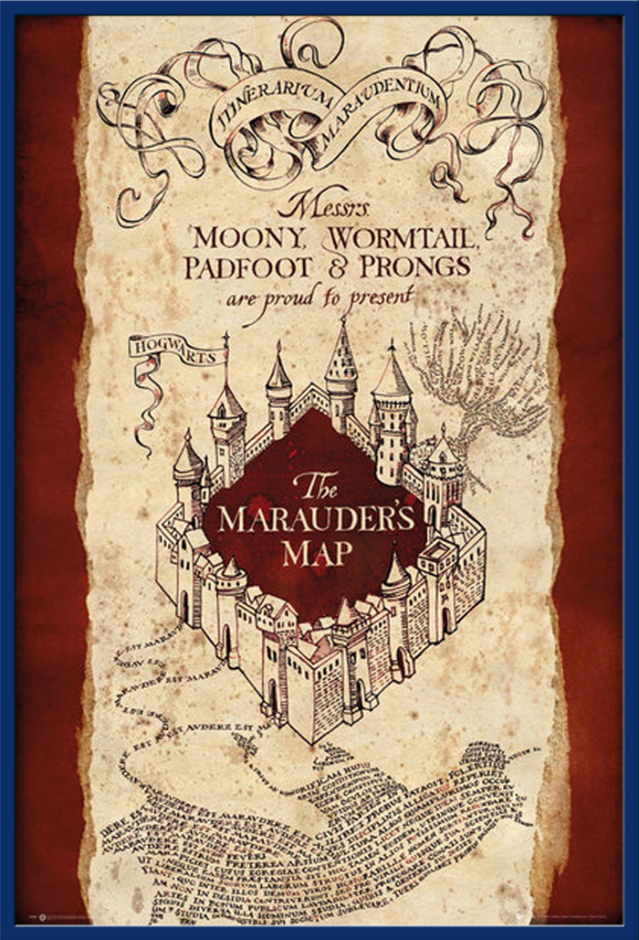 harry potter marauders map poster 61x91 5. Black Bedroom Furniture Sets. Home Design Ideas