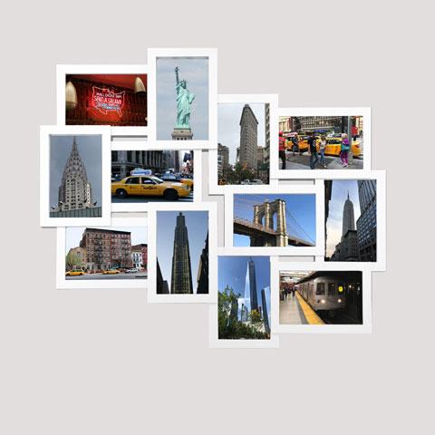Collage Bilderrahmen - Helsinki weiß Multishot - Wechselrahmen - 51x59