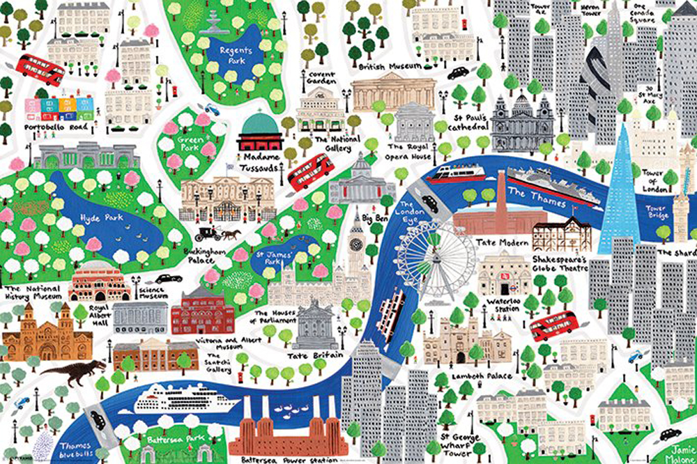 Jamie Malone - Poster - London Map - Illustration