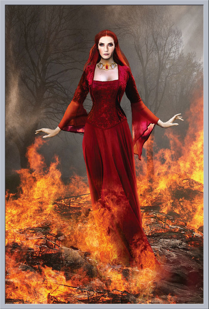 Priestress of Fire 61x91,5 cm Fantasy Gothic Poster Druck Liliana Sanches