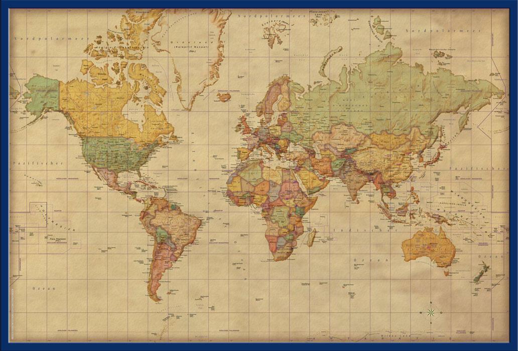 61x91,5 cm Weltkarte Antik deutsch Landkarten Poster Druck 1:45 Mio.