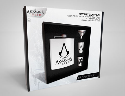 Flachmann-Set - Geschenk-Set - Assassins Creed - Logo