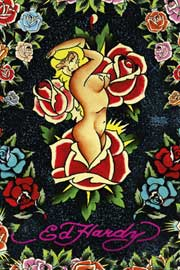 Poster - Ed Hardy Rose Pinup