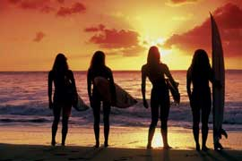 Poster - Surfing Sunset Babes