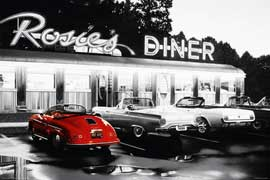 Poster - Rosie's Diner Red Car