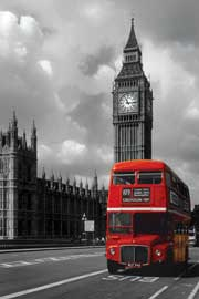 Poster - London Red Bus Big ben colourlight