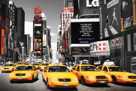 Poster - New York Time Square - Yellow Cabs Day Version 2