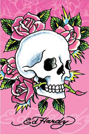 Poster - Ed Hardy Pink, Skull&Roses