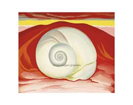 Poster - O'Keeffe Red Hills with White Shell, 19