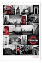 Poster - London Red Collage