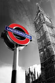 Poster - London Big Ben & Underground Sign