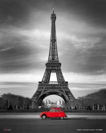 Poster - Paris Red 2 CV