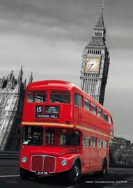 London Red Bus Mikrofasertuch Grösse 15x21 cm
