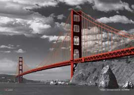 Golden Gate Bridge Colourlight Mikrofasertuch Grösse 21x15 cm