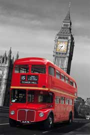 London Colourlight Red Bus Holzplattenbild aus MDF