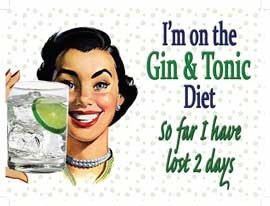Poster - Retro Humour Gin and Tonic Diet