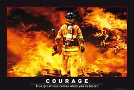 Poster - Motivational Courage Firefighter