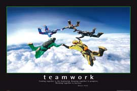 Poster - Motivational Teamwork Skydivers