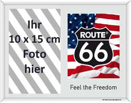 Poster - Route 66 American Flag and Logo - Fotorahmen