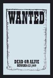 Poster - Wanted $20.000 Reward