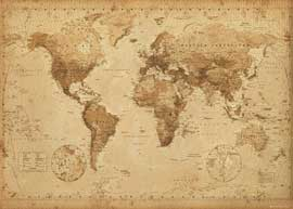 Poster - Landkarten  Weltkarte - World Map - Antik