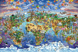 Poster - Rabinky, Maria World Wonders Map