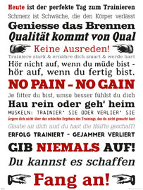 Poster - Motivational GYM Training - Keine Ausreden! Weiß