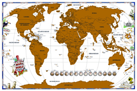 Poster - Scratch It Off World Map 36""