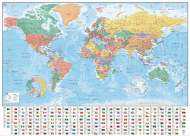 Poster - Landkarten  World Map Flags and Facts