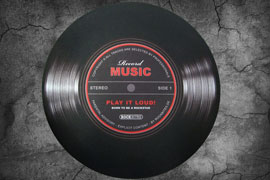 Poster - Record Music - Ø 60cm Play it loud