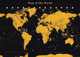 Poster - Landkarten  Weltkarte - World Map - Gold