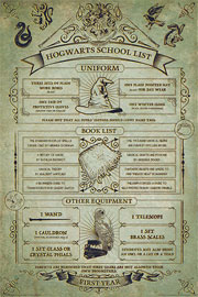 Poster - Harry Potter Hogwarts School List