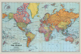 Poster - Landkarten Stanfords General Map Of The World
