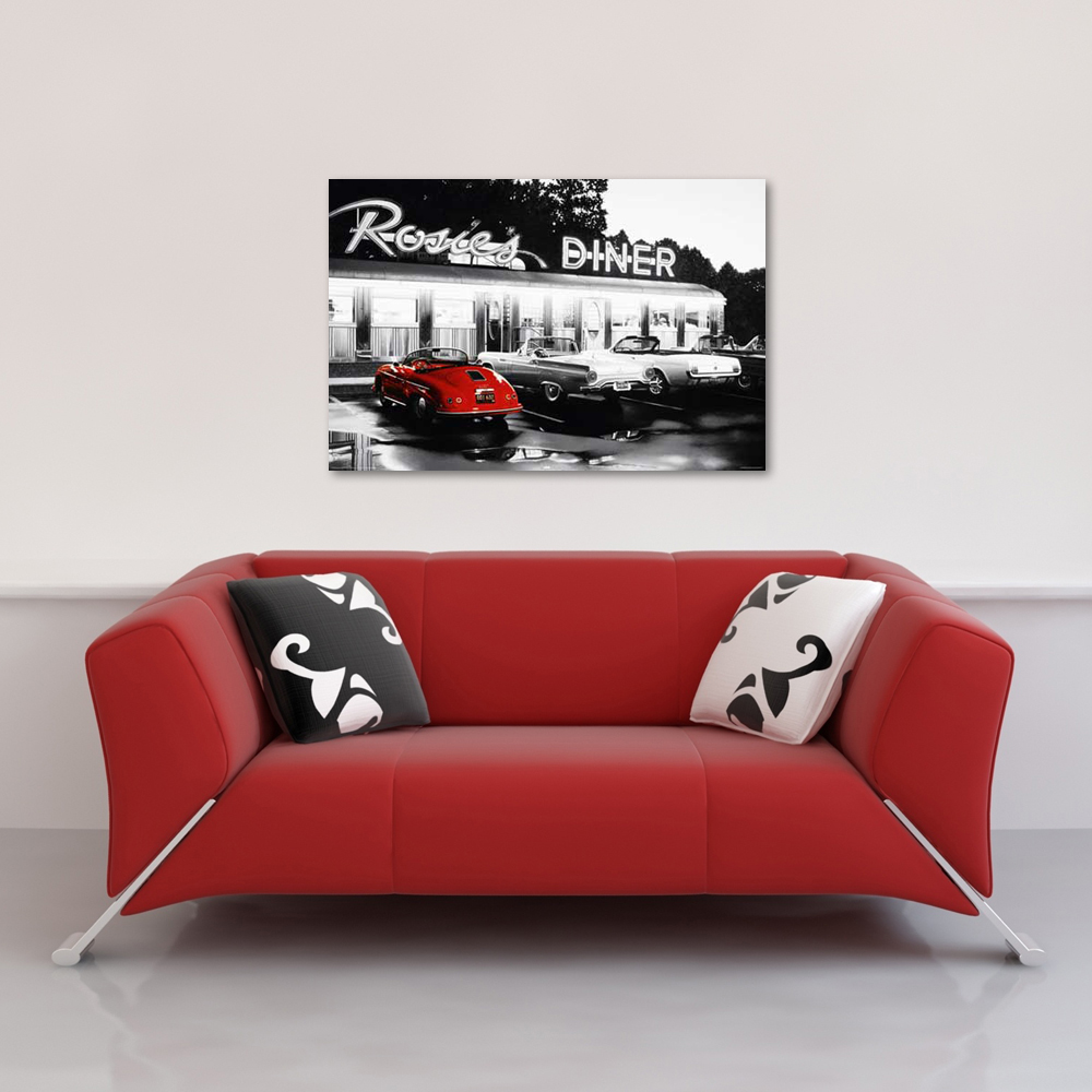 rosie 39 s diner red car black white colourlight poster 91 5x61. Black Bedroom Furniture Sets. Home Design Ideas