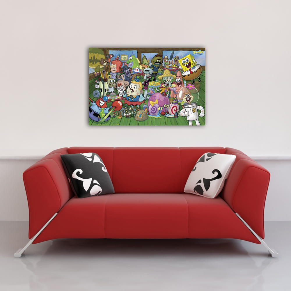 spongebob characters poster 91 5x61. Black Bedroom Furniture Sets. Home Design Ideas