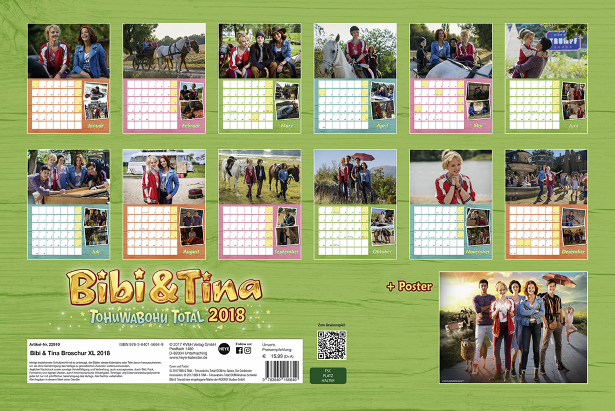 bibi und tina tohuwabohu total kalender 2018 kalender. Black Bedroom Furniture Sets. Home Design Ideas
