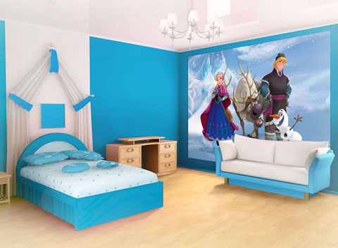 Fototapete Tapete Bild Disney Eiskönigin Frozen Elsa Anna Olaf Kristoff 368x254