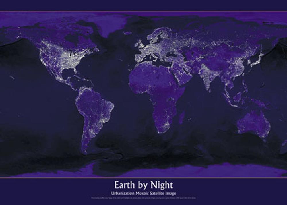 Weltall Universum Erde bei Nacht - Poster Druck - Größe 91,5x61 cm ...