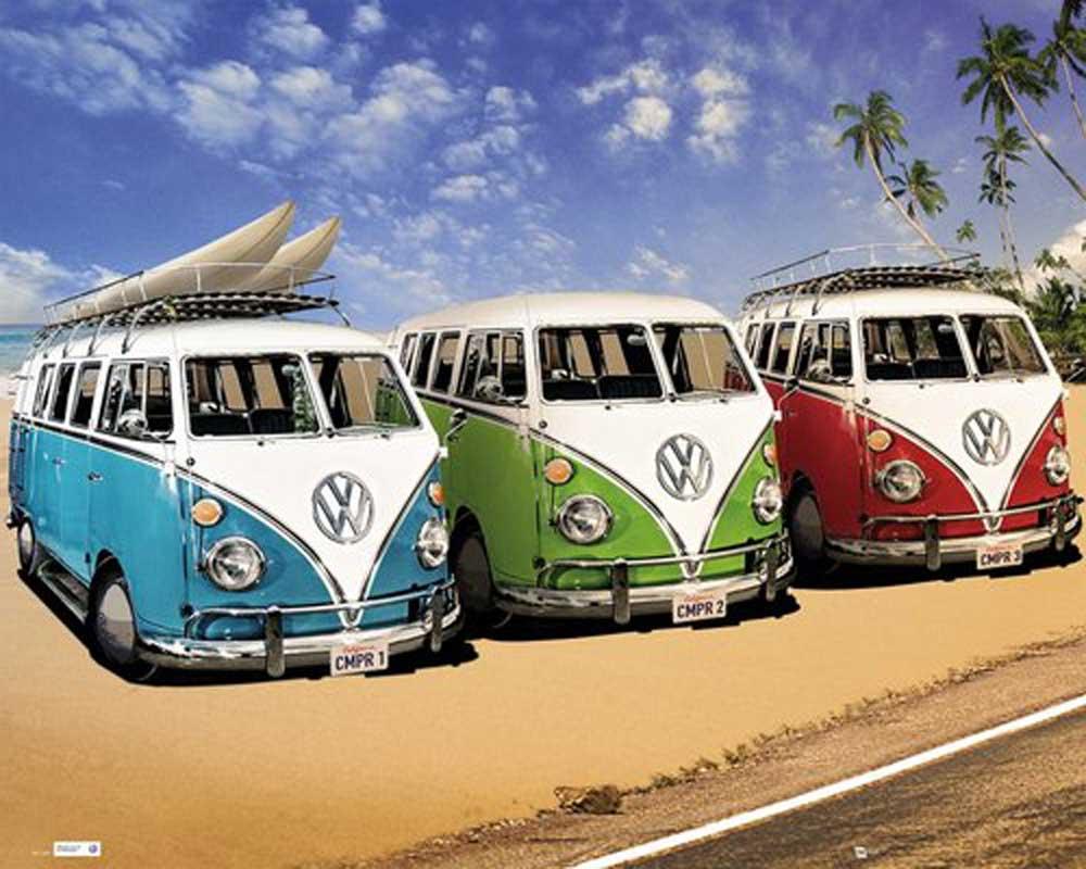 Volkswagen - VW Bus - Auto Strand Poster Plakate Druck | eBay