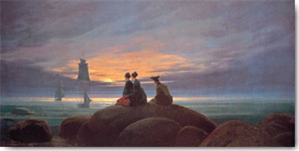 caspar david friedrich mondaufgang am meer kunstdruck 100x50. Black Bedroom Furniture Sets. Home Design Ideas