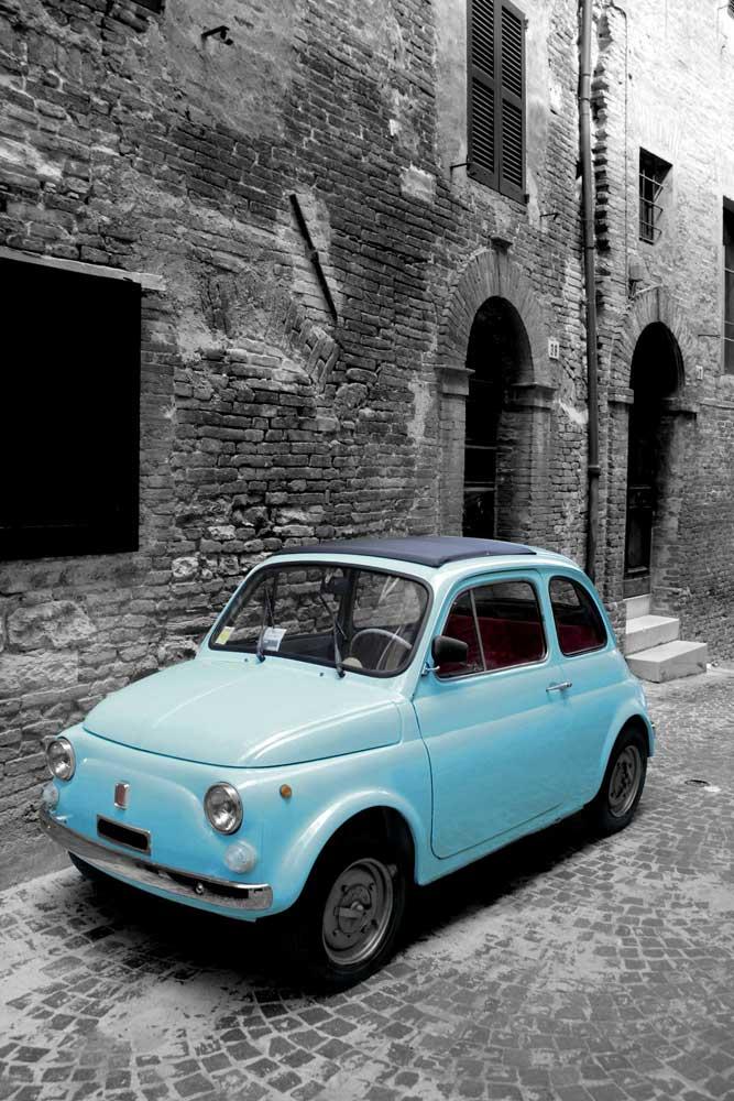 italy italien fiat 500 vintage fahrzeuge autos klassiker poster druck ebay. Black Bedroom Furniture Sets. Home Design Ideas