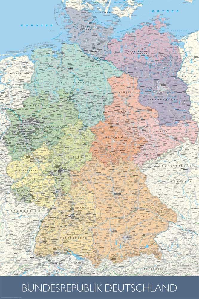 landkarten politische deutschlandkarte poster 61x91 5. Black Bedroom Furniture Sets. Home Design Ideas