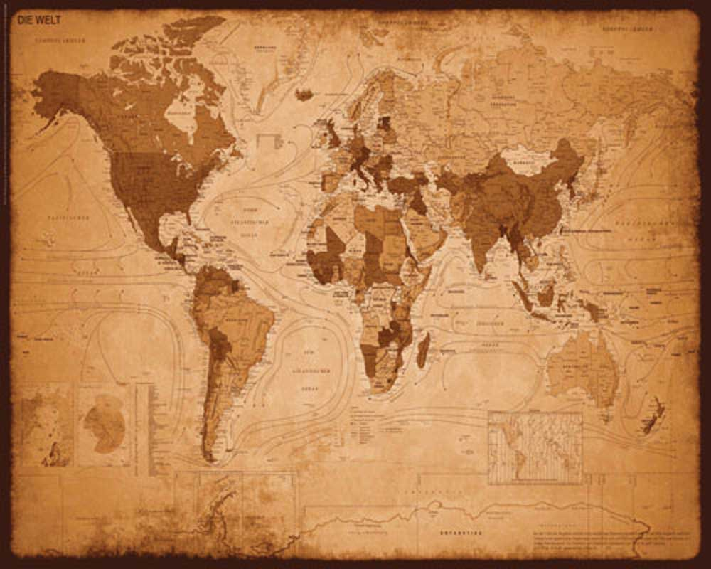 weltkarte antik Landkarten   Weltkarte Antik   Mini Poster   50x40 weltkarte antik