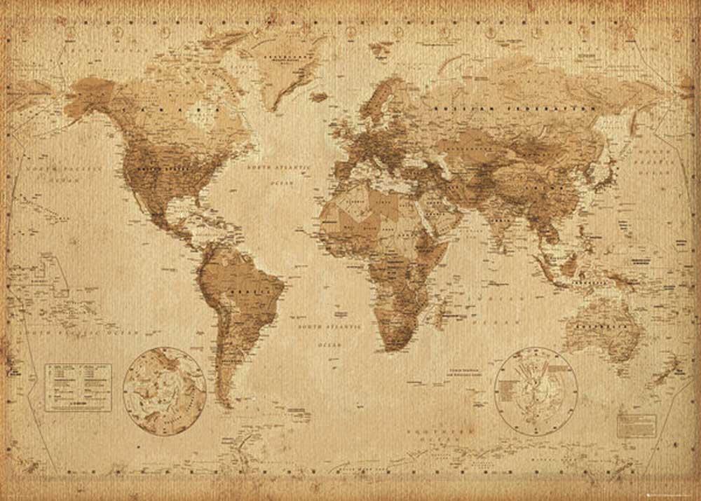 landkarten weltkarte world map antik giant poster 140x100. Black Bedroom Furniture Sets. Home Design Ideas