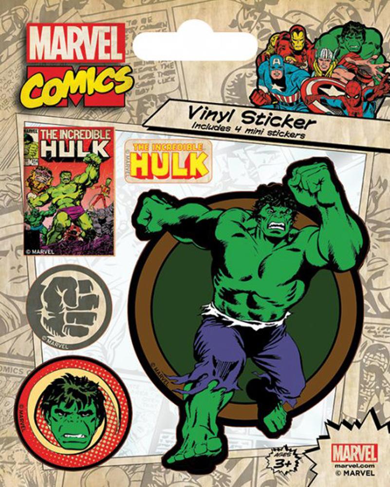 Marvel Comics Hulk Retro Stickerset Sticker Aufkleber 10x12,5cm
