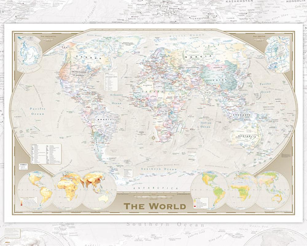 Landkarten - Weltkarte Triple - Plakat Mini-Poster 50x40 cm | eBay
