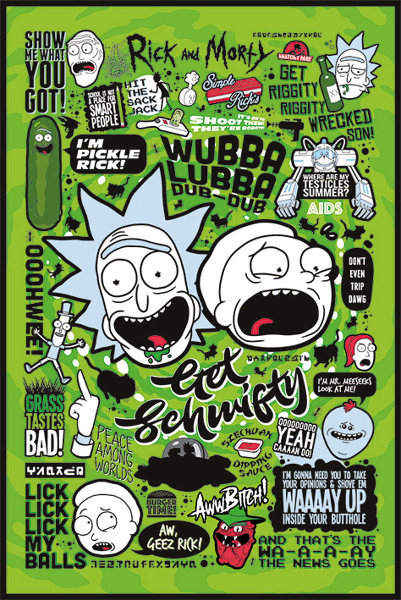 RICK AND MORTY - Quotes - Green - Poster Druck - Größe 61x91,5 cm ...